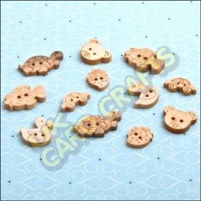 12 x Wooden Buttons - Variety Pack - HHWB032